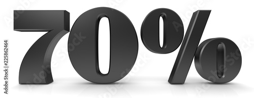 Fotografie, Obraz 70 % percent sign percentage 3d black symbol icon isolated