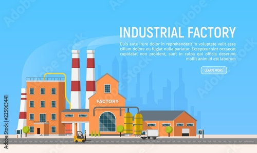 Poster Bleu Vector flat Industrial factory or plant on city background. Industrial revolution 4.0 . Manufacturing engineering buildings illustration. Urban architecture