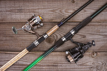 Top View Of Fishing Rods On Wo...