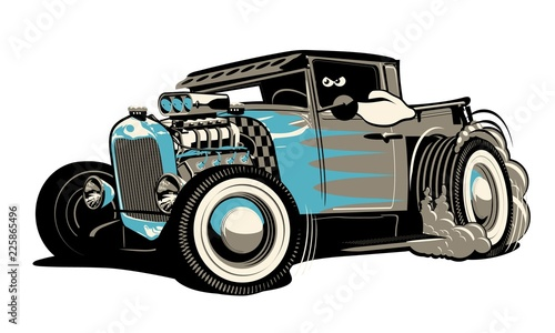 Cartoon retro hot rod isolated on white background Canvas Print