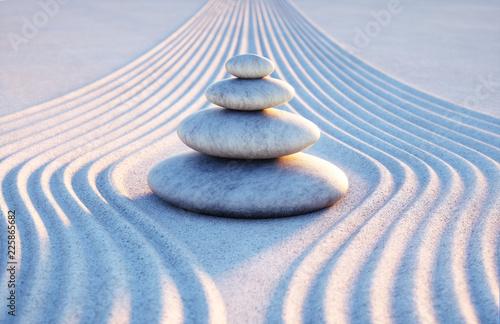 Acrylic Prints Stones in Sand Steinturm in Sandwellen - Meditation Abendstimmung