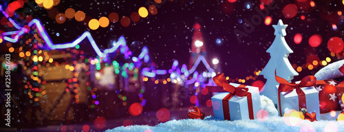 Fotografia  Christmas Fair with Street Festive Light. Holiday concept