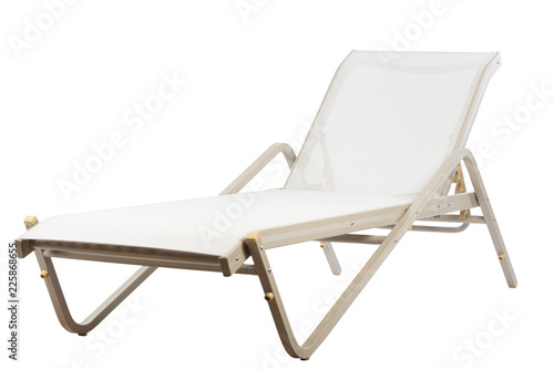 Fototapeta metal sunbed on white background
