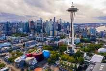 Aerial Drone Photo Of The Seattle Space Needle And Downtown