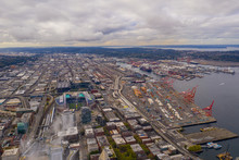 Aerial Image Of Port Seattle And Centurylink Field Sports Stadium