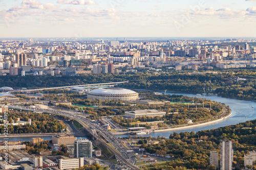 Keuken foto achterwand Aziatische Plekken above view of Luzhniki arena stadium in Moscow