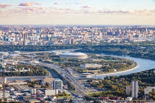 Keuken foto achterwand Aziatische Plekken view of Luzhniki arena stadium in autumn twilight