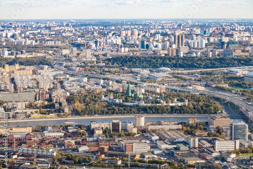 Fotobehang Aziatische Plekken above view of Moscow city with Novodevichy Convent