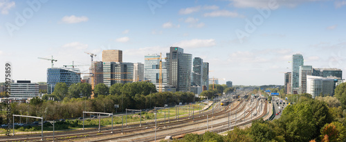 Daytime panoramic skyline of Zuidas the business and financial area of Amsterdam Wallpaper Mural