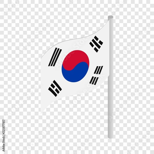 South Korea flag isometric icon 3d on a transparent background vector illustration