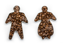 Coffee Beans In A Male And A Female Shape On White Background