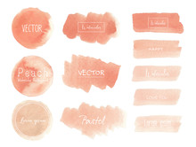 Peach Watercolor Background, Pastel Watercolor Logo, Vector Illustration.