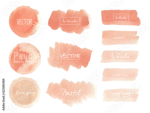 Peach watercolor background, Pastel watercolor logo, Vector illustration Canvas-taulu