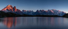 Panorama Of The Alps At Lac Des Cheserys During Sunset. With Aiguille Verte,  Auguille Du Midi And Mont Blanc.