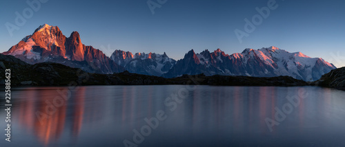 Panorama of the Alps at Lac des Cheserys during sunset Canvas Print