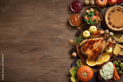 Photo Thanksgiving dinner background