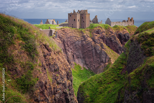 Ruins of Dunottar castle on a cliff, on the north east coast of Scotland, Stoneh Canvas Print