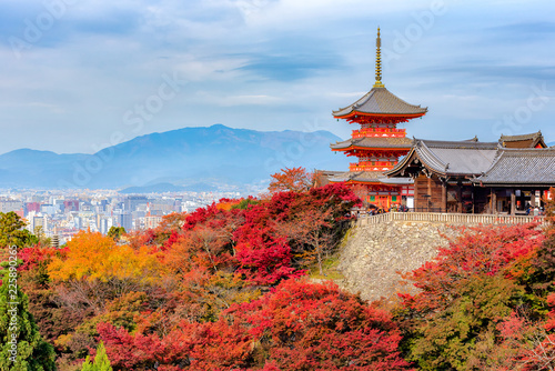 Wall Murals Kyoto Autumn Color at Kiyomizu-dera Temple in Kyoto, Japan