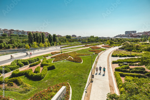 Madrid, Espanha. View of the flower garden in Parque Madrid Río Canvas Print