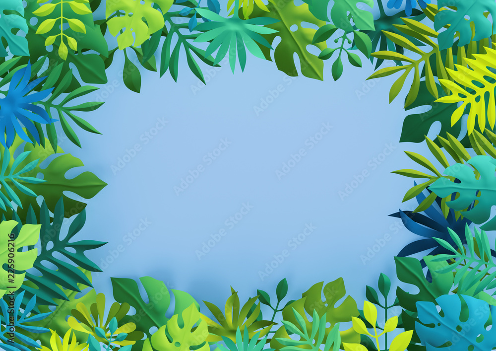 Fototapety, obrazy: 3d render, tropical paper leaves, summer background, jungle, frame, blank space, empty banner, space for text