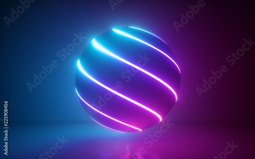 Canvas Print 3d render, glowing sphere, ultraviolet neon light, pink blue disco ball, bubble,