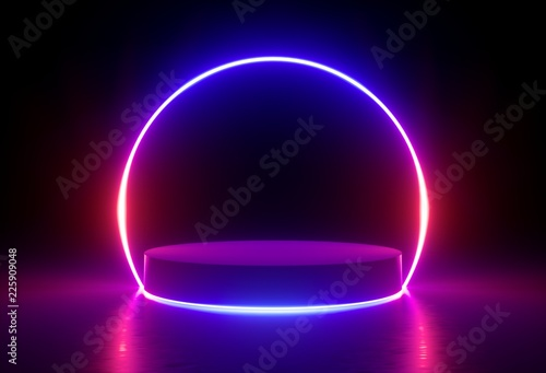 Photo  3d render, neon light, glowing lines, ultraviolet, stage, portal, round arch, pe