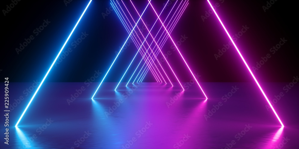 Fototapety, obrazy: 3d render, neon lights, abstract background, glowing lines, virtual reality, violet triangular arch, ultraviolet, infrared, spectrum vibrant colors, laser show