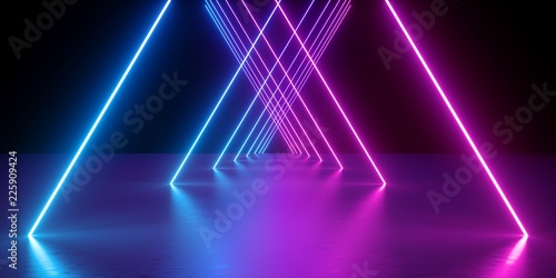 Fotografía  3d render, neon lights, abstract background, glowing lines, virtual reality, vio