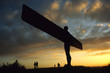 canvas print picture - Angel of the North at sunset