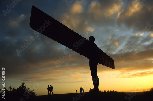 Fotobehang Grijs Angel of the North at sunset
