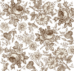 Fototapeta Malarstwo Seamless pattern. Beautiful brown blooming realistic isolated flowers. Vintage background. Set Chamomile Rose petunia wildflowers. Wallpaper baroque Drawing engraving Vector victorian Illustration
