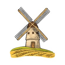 Windmill On Wheat Field. Vintage Vector Color Engraving Illustration