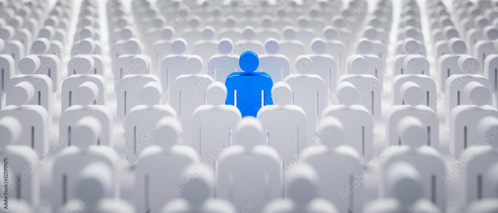 Fototapeta Blaues Individuum in der Menge - Konzept Leadership und Excellence