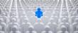Leinwanddruck Bild - Blaues Individuum in der Menge - Konzept Leadership und Excellence