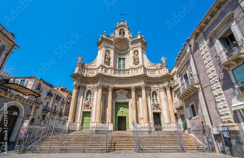 Basilica della Collegiata in Catania, Sicily, southern Italy. Fotobehang