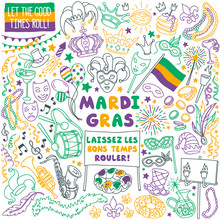 Mardi Gras Doodle Set. Carnival Masks And Party Decorations. Hand Drawn Vector Illustration Isolated On White Background.