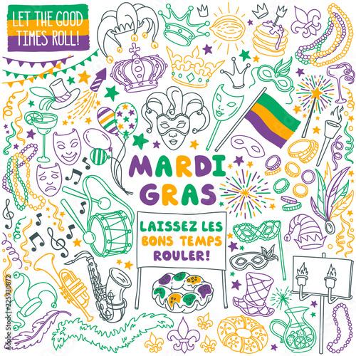 Fotografija Mardi Gras doodle set