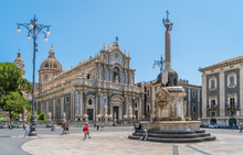 Piazza Del Duomo In Catania On A Summer Morning, With Duomo Of Saint Agatha And The Elephant Fountain. Sicily, Southern Italy.