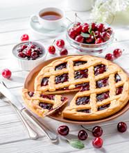 Cherry Tart On White Wooden Ba...