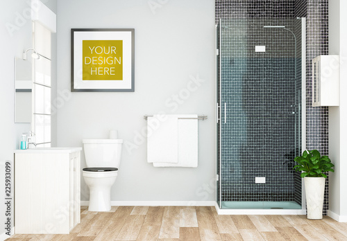 Square Frame in Bathroom Mockup. Buy this stock template ...