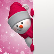 3d snowman looking out the corner, looking at camera, holding Christmas banner, snowfall, pink background, blank space for text