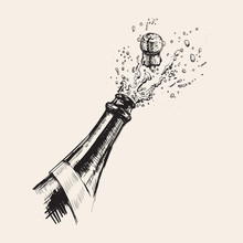 Hand Drawn Illustration Of Champagne Explosion.