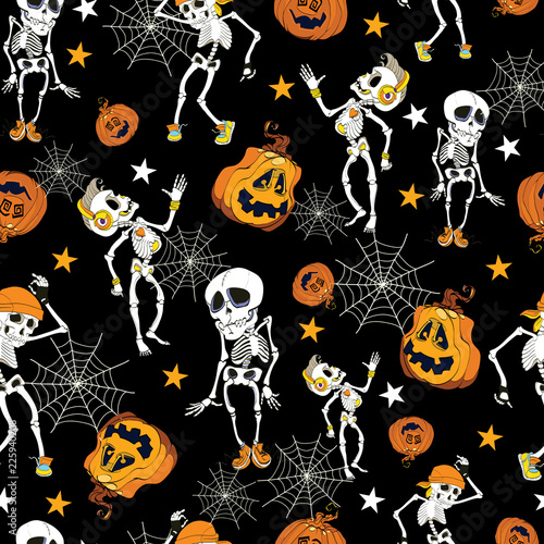Dancing Halloween skeletons and pumpkins pattern. Great for spooky holiday wallpaper, backgrounds, invitations, packaging design projects.