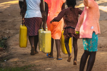 Woman Carrying Water Can In Ug...