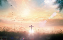 Thanksgiving Concept: The Cross On Meadow Autumn Sunrise Background