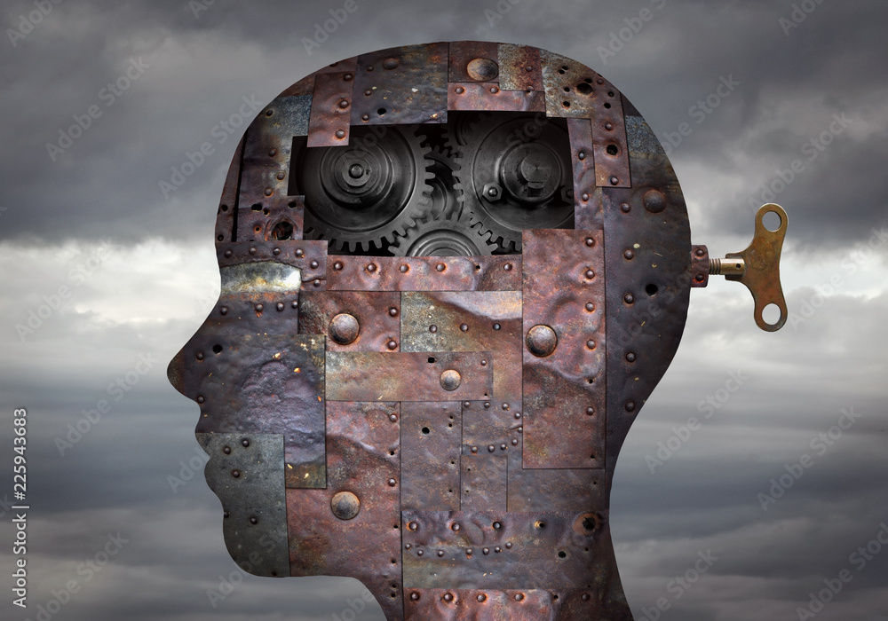 Fototapeta Metallic head with key