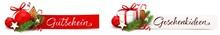 Weihnachtsdeko Gutschein Und Geschenkiddeen - Banner Set Mit Weihnachtskugel, Geschenkpaket, Lebkuchen Und Tannenzweigen