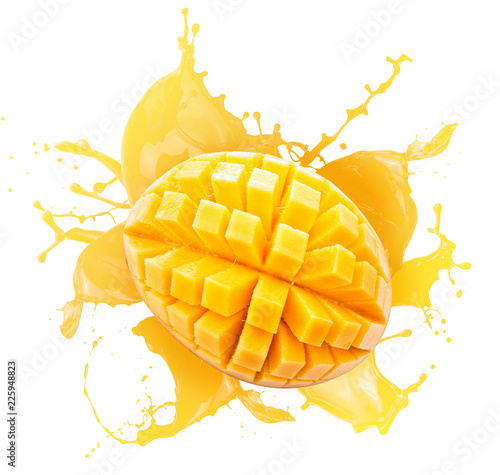 mango slices in juice splash