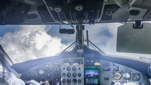 Interior/cockpit of the turboprop plane Fototapet