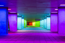 European Scenic Destinations. Tunnel Of Changing Light In Rotterdam In The Netherlands. Horizontal Image Composition